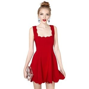 NWT Nasty Gal red scalloped mini dress